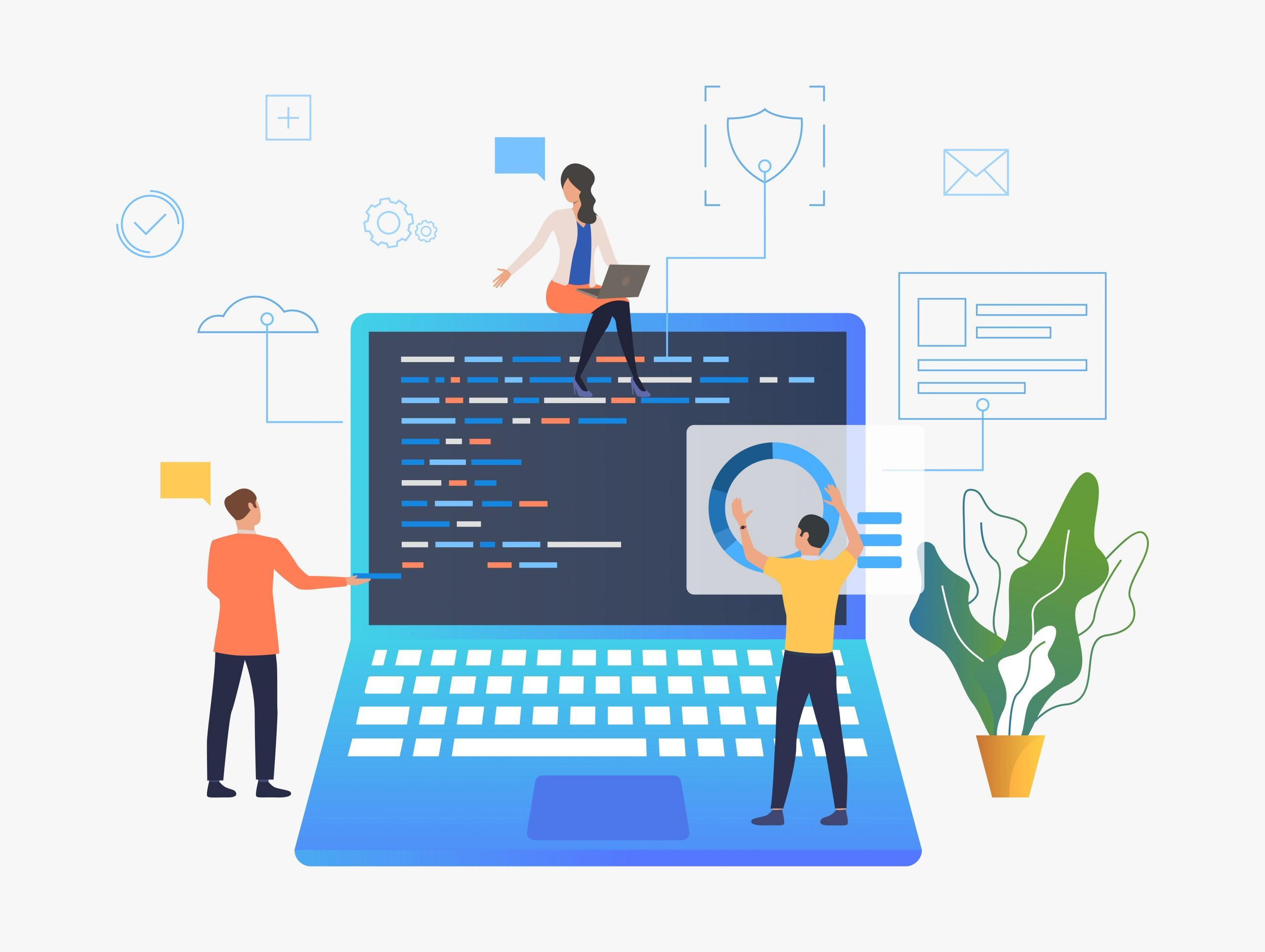 Business people working over laptop development SEO